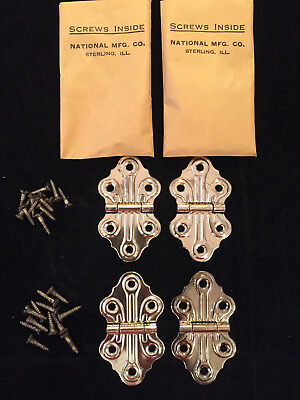 "Four (4) Vintage Nos 1 1/4"" Ornamental Hinges #485 Bright Brass, With Screws"