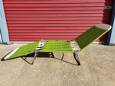 Vintage Aluminum Folding Lawn Chaise LOUNGE Chair Webbing Patio Camping Green