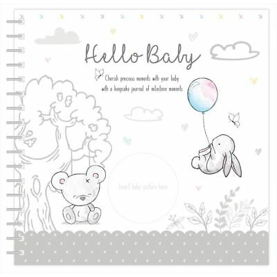 Hugs & Kisses New Baby Keepsake Journal Milestone Record Book - Unisex Gift