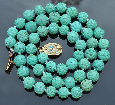 VINTAGE CHINESE 30g CARVED TURQUOISE 7-8mm SHOU BEAD NECKLACE 18""