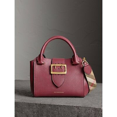 preview of outlet for sale buying cheap BURBERRY BUCKLE LEATHER Satchel Dark Plum burgundy soft ...