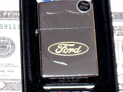 New ZIPPO Windproof USA LIGHTER 79629 Engraved Ford Oval & Badge Diagonal Weave