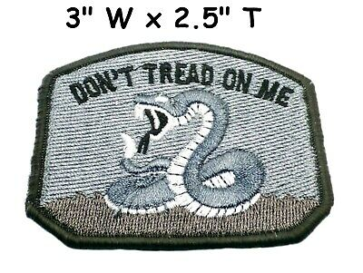 Don't Tread On Me Gadsden Flag Patch American Black Embroidered Iron-On Subdued