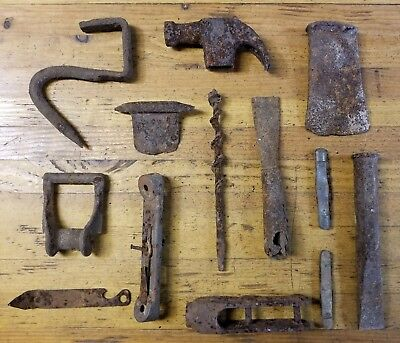 ANTIQUE Metal Detector Find Lot • Primitive Farm Estate Blacksmith Tools ☆USA