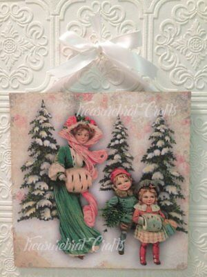 French Country Shabby Cottage Chic Wall Decor Christmas Sign- Vintage Winter