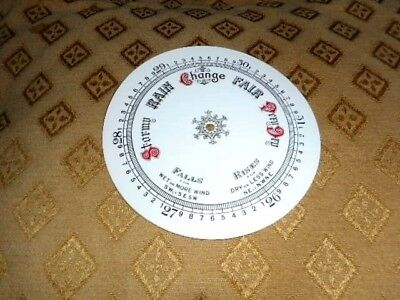"Round Paper Aneroid Barometer Dial - 8"" Diameter - White Gloss - Parts/Spares"