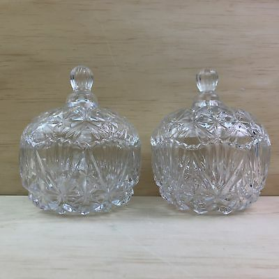 Pre-Loved Set of 2 Glass Bowl With Lid Crystal Cut Glass Table Decorative Tof...
