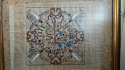 Vintage 1970's Egyptian Dendera Zodiac Papyrus Paper Painting Framed Wall Art