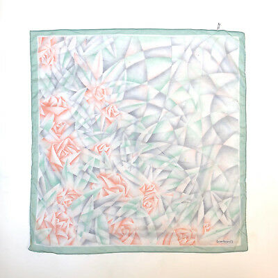CACHAREL!!! Vintage 1970s 'Cacharel' pastel tones scarf with cubist rose print
