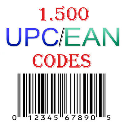 1500 UPC & EAN Codes Numbers Barcodes E-Commerce US UK EU Marketplace Send  Email