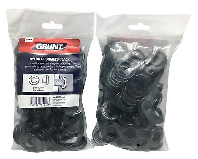 4x Grunt NYLON GROMMETS 50Pcs Webbing Accessory BLACK - 12mm, 17mm Or 22mm
