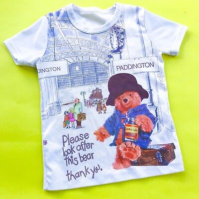 Vintage Kids 70s Paddington Bear Graphic Film Novelty Kitsch Ringer Top 3-4 Y