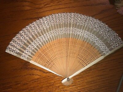 Vintage Japanese Chinese Hand Fan, Wood, Bamboo, Fabric