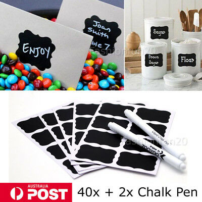 40pcs Blackboard Chalkboard Labels and 2 Chalk Pen Kitchen Jar, Craft Stickers