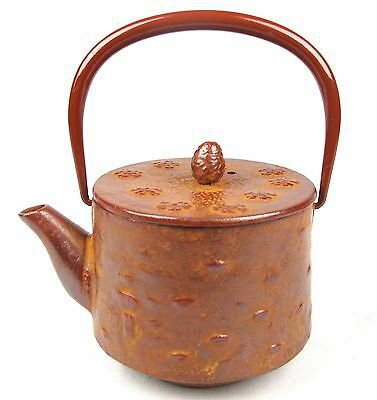 #680 Japanese Vintage Tetsubin Iron Tea Pot Signed Sakura Small Chagama Kyusu