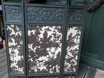 Antique Asian Screen Japanese Carved Wood Panel Folding hand made paper