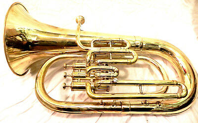 Euphonium Brass Gold  Polish 3 Valve euphonium  & Mouth Piece with Bag
