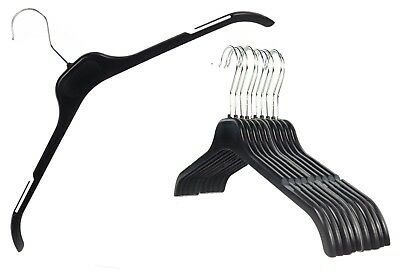 Plastic Black Notched Hangers Tops T-shirt Dresses Lot Teen Small Adult Large