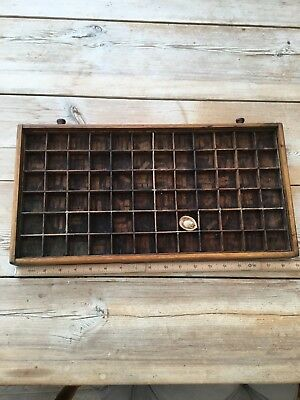Vintage Printers Type Set  Tray Shadow Box Letter Press Drawer Small With Mouse