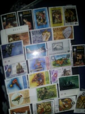 Grenada Grenadines used selection colourful range of stamps x 25