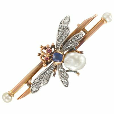 Broche ancienne insecte perle fine saphir diamants Or rose 18K Bestaire  Napoléo