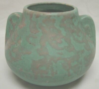BRUSH McCOY ART POTTERY FAWN VELLUM DOUBLE HANDLE VASE MOLTED GREEN
