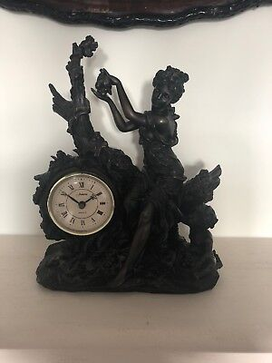 Clock, Free Standing, Black, 12 Hour, Mantle Piece, Fire Place, Woman And Child