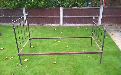 Antique Victorian Heavy Brass & Cast Iron Single Bed ~ All Original