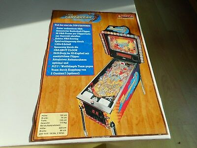Flyer für Bally Flipper Pinball NBA Fastbreak deutsch