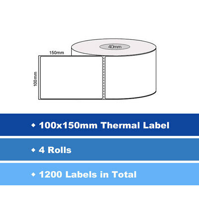 4x Thermal Direct Labels Roll 100 X 150mm Fastway EParcel Startrack Zebra SATO