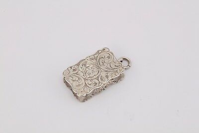 Victorian sterling silver engraved vinaigrette, Birmingham 1855 by Alfred Taylor