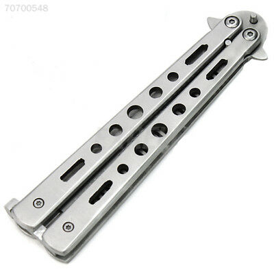 33E8 2B2D NEW Stainless Steel METAL Training Butterfly Balisong Knife Comb Cool