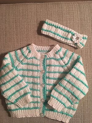 3-6 Months Cardigan ... Hand Knitted ...  Free Matching Head Band ... Brand New