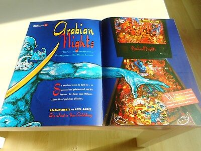 4 - seitiger Flyer für Williams Flipper Pinball Arabian Nights