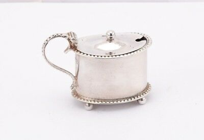 Victorian sterling silver mustard pot, Birmingham 1898 by Charles Horner