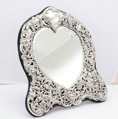 QUALITY Victorian sterling silver mounted mirror, London 1899 William Comyns