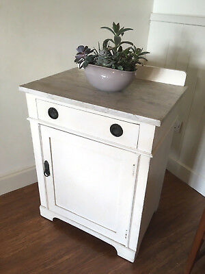 Antique Grey Marble Top, Cream Painted Pine Pot Cupboard Side Table, Kitchen