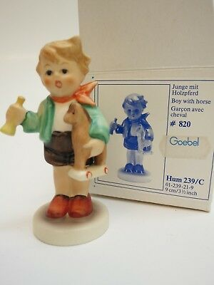 GOEBEL HUMMEL #802 BOY with TOY HORN and HORSE 239/C West Germany 1967 trumpet