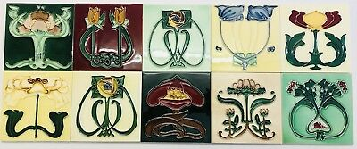 10 INDIVIDUAL ART NOUVEAU Fireplace TILES TUBELINED MAJOLICA Kitchen Splashback