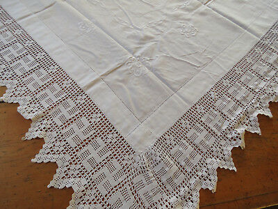 Antique Vtg Linen hand embroidered TABLECLOTH Tea Cloth Crochet Lace Edging