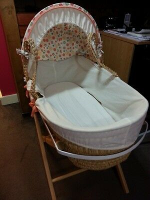 Moses Basket 2 new fitted sheets (Egyptian cotton) Baby Bath Tub Pink + accesori