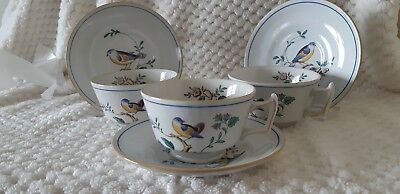 Spode Queen's Bird Teacups & Saucers 3 Sets S3589