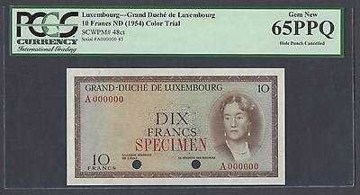 Luxembourg 10 Francs ND 1954 P48ct Color Trial Specimen Uncirculated