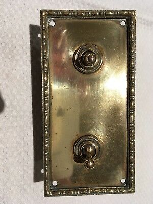 Pair Of Vintage Tucker Telac Light Switches Mounted On A Common Brass Plate