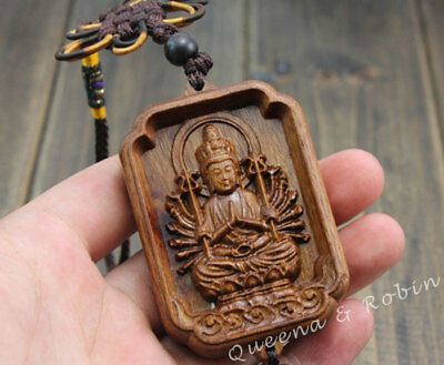 Wood Carving Chinese Knot Thousand Hand Kwan Yin Car Pendant Amulet Wooden Rose