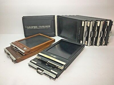 10 Cut Film Holders & Graphic Film Pack Adapter 4 x 5 Riteway Wooden Fidelity