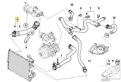 bmw genuine cooling system water hose/pipe e46 11537789719