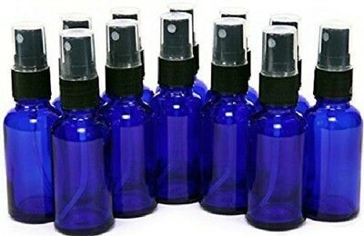 2 oz Cobalt Blue Boston Glass Bottles with Black Fine Mist Sprayers (12-PACK)