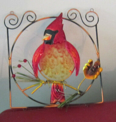 Red Cardinal Wall Art Metal Winter / Christmas Cardinal  Bird Door Window Wall