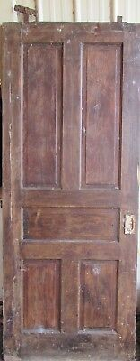 Vintage Solid Wood Door 5 Panel Architectural Salvage Pocket  Door, Lock,